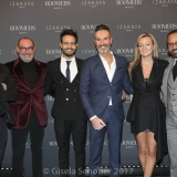 MUNICH, GERMANY - OCTOBER 12: Alex Urseanu Owner of Gekko Group, Micky Rosen, Owner of Gekko Group/Roomers, Liran Wizman, Founder and Co-Owner Entourage Group. Co-Owner Roomers Munich, Yossi Eliyahoo Founder and Co-Owner of Entourage Group and his wife Stephanie Pearson, Micky Rosen, Owner of Gekko Group/Roomers during the grand opening Roomers & IZAKAYA on October 12, 2017 in Munich, Germany. (Photo by Gisela Schober/Getty Images for Roomers Munich)