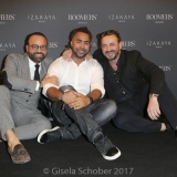 MUNICH, GERMANY - OCTOBER 12: Bardia Torabi, General Manager Roomers Munich, Patrick Owomoyela and Alex Urseanu Owner of Gekko Group/Roomers during the grand opening Roomers & IZAKAYA on October 12, 2017 in Munich, Germany. (Photo by Gisela Schober/Getty Images for Roomers Munich)