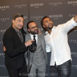 MUNICH, GERMANY - OCTOBER 12: DJ Mousse T., Bardia Torabi, General Manager Roomers Munich and Patrick Owomoyela during the grand opening Roomers & IZAKAYA on October 12, 2017 in Munich, Germany. (Photo by Gisela Schober/Getty Images for Roomers Munich)