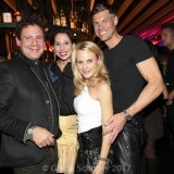 MUNICH, GERMANY - OCTOBER 12: Dirndl fashion designer Lola Paltinger and her boyfriend Andreas Meister and Sonja Kiefer and her boyfriend Cedric Schwarz during the grand opening Roomers & IZAKAYA on October 12, 2017 in Munich, Germany. (Photo by Gisela Schober/Getty Images for Roomers Munich)