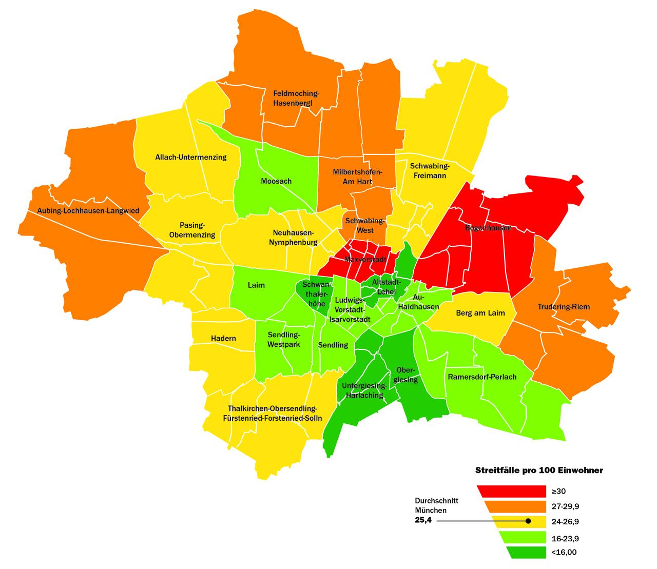 Streitatlas 2015: München - In diesen Stadtteilen wird am