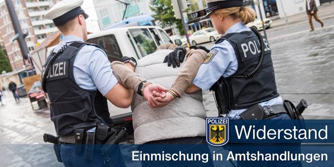 Zwei Widerstände gegen Bundespolizisten - Umstehende mischen sich in Amtshandlung ein