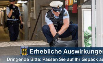 Herrenlose Gepäckstücke halten Bundespolizei auf Trab