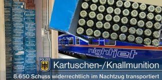 Kartuschen- und Knallmunition im Personenzug transportiert
