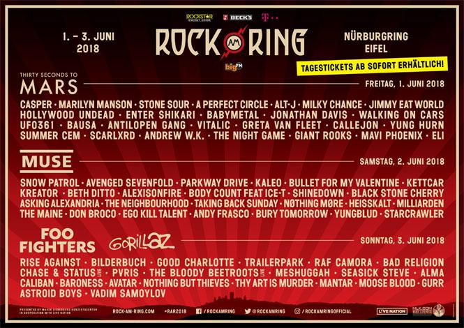 Spielplan für Rock am Ring und Rock im Park veröffentlicht