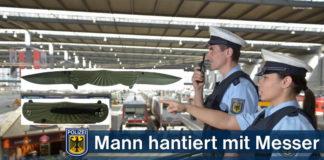 Mann hantiert mit Messer - Reisende verständigen Sicherheitspersonal