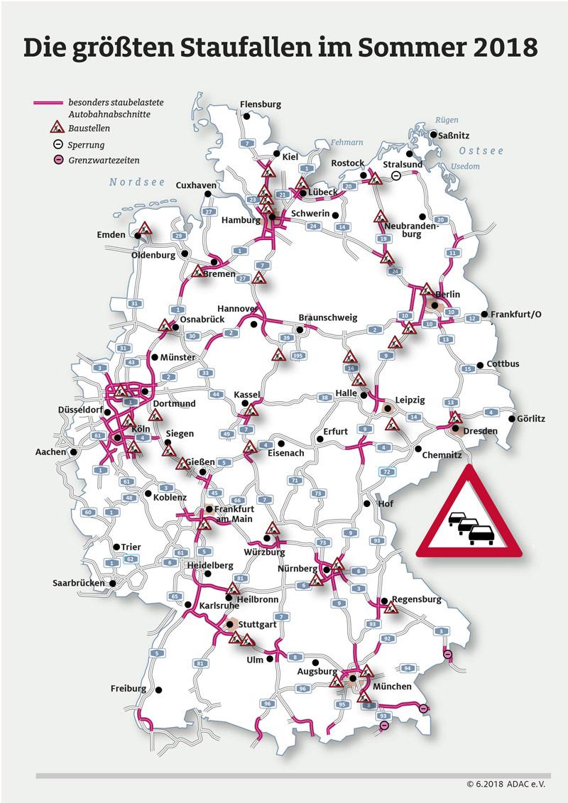 Staustrecken auf Deutschlands Autobahnen im Sommer
