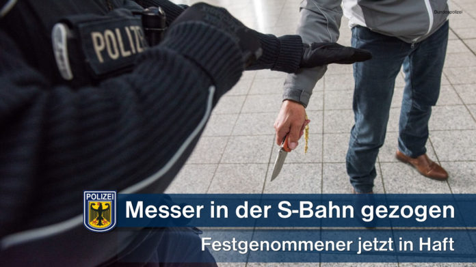 Bedrohung mit Messer in der S-Bahn - Bundespolizei nimmt 58-Jährigen fest