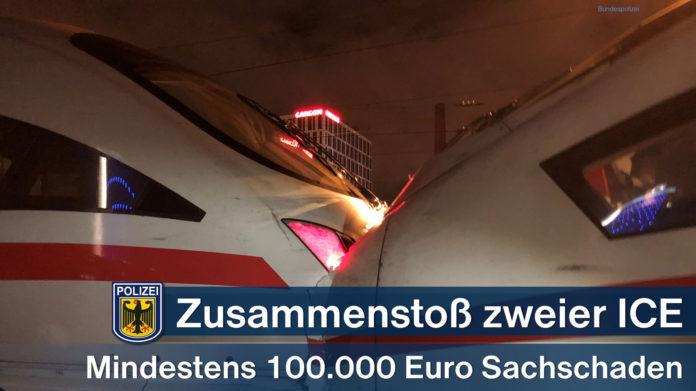 Zusammenstoß zweier ICE - Mindestens 100.000 Euro Sachschaden