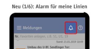 Pushmeldungen zu Störungen in der App MVG Fahrinfo München