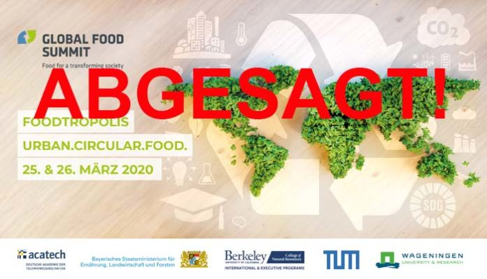 Global Food Summit 2020 in München wegen Coronavirus abgesagt