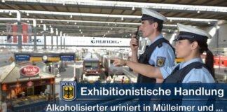 Exhibitionistische Handlung am Hauptbahnhof - Mülleimerpinkler zeigt Geschlechtsteil