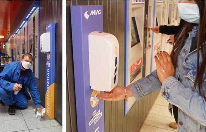 Erste Hygienestationen im U-Bahnhof Marienplatz