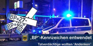 Kfz-Kennzeichen von Streifenfahrzeug entwendet