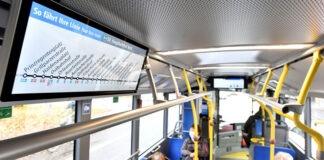 Digital auf ganzer Linie: Neue Bildschirme zeigen Linienverlauf im Bus