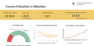 Update 13.11.: Entwicklung der Coronavirus-Fälle in München