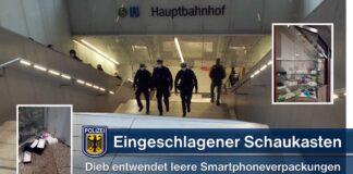 Eingeschlagene Schaukastenscheibe - Dieb klaut leere Smartphoneverpackungen