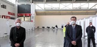 OB Reiter und Ministerpräsident Dr. Söder besuchen Impfzentrum in der Messe München