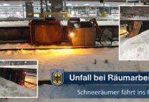 Unfall bei Schneeräumarbeiten - Schneeräumer fährt ins Gleis