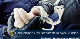 Unbelehrbar: Drei Diebstähle in zwei Stunden
