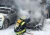 Frankfurter Ring - Elektrofahrzeug in Flammen aufgegangen