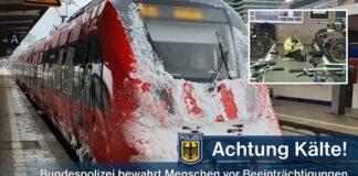 Bundespolizei schützt mehrere Personen rechtzeitig vor Kältebeeinträchtigungen