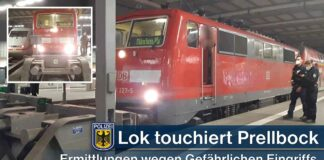 Lokomotive touchiert Prellbock