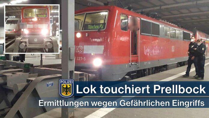 Lokomotive touchiert Prellbock