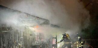 Gartenhütte durch Brand zerstört