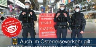 Auch im Osterreise- und Ausflugsverkehr heißt es Mund-Nase-Bedeckung in Zügen und Bahnhöfen tragen