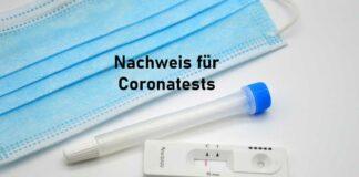 Nachweis für den Corona Test