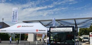 Zum Fantraining und DEL-Heimauftakt: Impfbus vor dem Olympia-Eisstadion